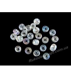 Бисер ювелирный № 2-28 круглый 6/0 прозрачный AB 500 грамм