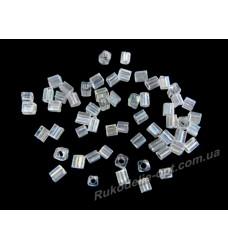 Бисер ювелирный № 2-5 квадрат 12/0 прозрачный AB 500 грамм