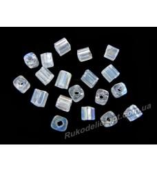 Бисер ювелирный № 2-7 квадрат 6/0 прозрачный AB 500 грамм
