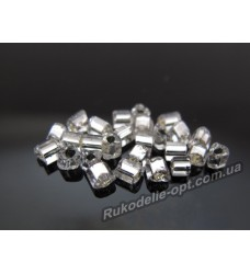 Бисер ювелирный № 3-25 треугольник 8/0 серебро 500 грамм