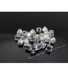 Бисер ювелирный № 3-6 квадрат 8/0 серебро AB 500 грамм