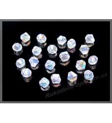Бусины хрустальные (мод. 157) биконус 3 мм crystal AB +