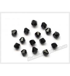 Бусины хрустальные (мод. 157) биконус 4 мм черные
