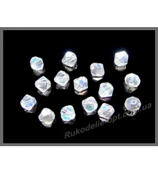 Хрустальные бусины биконус 4 мм цвет crystal AB
