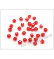 Бусины хрустальные (мод. 165) рондель 2 мм красные AB № 27
