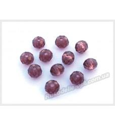 Хрустальные бусины рондель 6 мм цвет аметист
