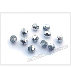 Хрустальные бусины рондель 6 мм цвет crystal с серебром