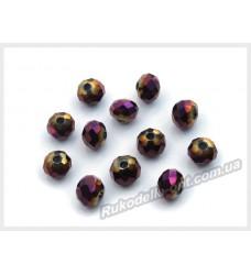 Хрустальные бусины рондель 6 мм цвет фиолетовый AB матовый