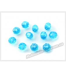 Хрустальные бусины рондель 6 мм цвет голубой