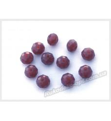 Хрустальные бусины рондель 6 мм цвет красно-сиреневый матовый