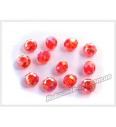 Хрустальные бусины рондель 6 мм цвет красный AB