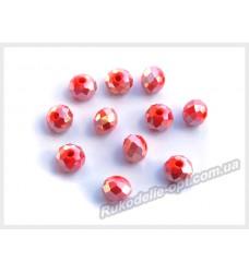 Хрустальные бусины рондель 6 мм цвет красный AB матовый