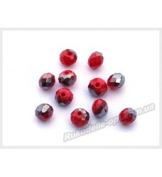 Хрустальные бусины рондель 6 мм цвет красный матовый с серым AB
