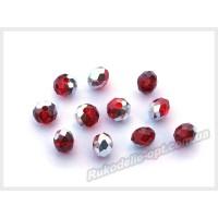Бусины хрустальные (мод. 165) рондель 6 мм красные с серебром № 127
