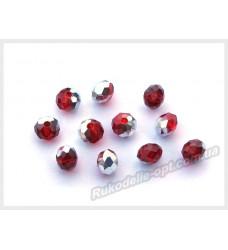 Хрустальные бусины рондель 6 мм цвет красный с серебром