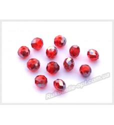 Хрустальные бусины рондель 6 мм цвет красный с серым AB