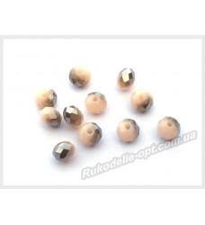 Хрустальные бусины рондель 6 мм цвет кремово-белый матовый с серым AB