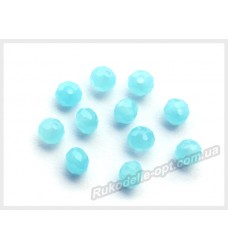 Хрустальные бусины рондель 6 мм цвет молочно-голубой матовый