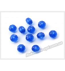 Хрустальные бусины рондель 6 мм цвет синий