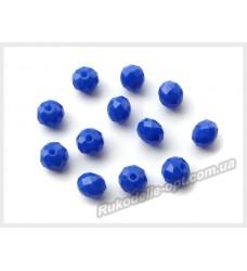 Хрустальные бусины рондель 6 мм цвет синий матовый