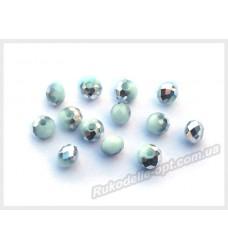 Хрустальные бусины рондель 6 мм цвет светло-бирюзовый матовый с серебром