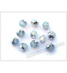 Хрустальные бусины рондель 6 мм цвет светло-голубой с серебром