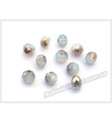 Бусины хрустальные (мод. 165) рондель 6 мм светло-голубые с серым AB № 100