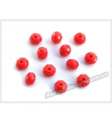 Бусины хрустальные (мод. 165) рондель 6 мм светло-красные матовые № 35