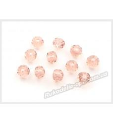 Хрустальные бусины рондель 6 мм цвет светло-розовый