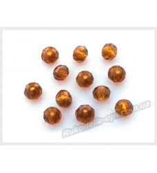 Хрустальные бусины рондель 6 мм цвет темно-коричневый