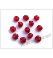 Хрустальные бусины рондель 6 мм цвет темно-красный