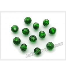 Хрустальные бусины рондель 6 мм цвет темно-зеленый