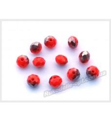 Хрустальные бусины рондель 6 мм цвет томатный матовый с серым AB