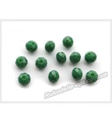 Хрустальные бусины рондель 6 мм цвет зеленый матовый
