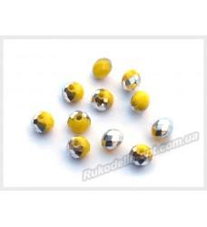 Хрустальные бусины рондель 6 мм цвет желтый матовый с серебром
