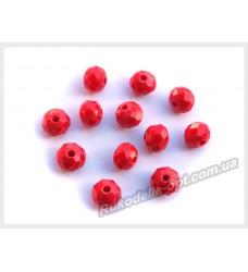 Хрустальные бусины рондель 6 мм цвет красный матовый