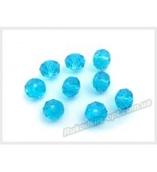 Хрустальные бусины рондель 8 мм цвет голубой