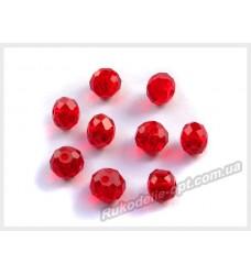 Хрустальные бусины рондель 8 мм цвет темно-красный
