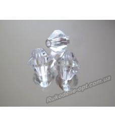 Бусины Хрусталик акриловые биконус 10 мм прозрачные