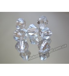 Бусины Хрусталик акриловые биконус 4 мм прозрачные