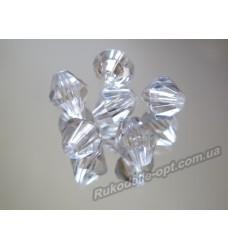 Бусины Хрусталик акриловые биконус 5 мм прозрачные