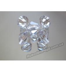 Бусины Хрусталик акриловые биконус 6 мм прозрачные