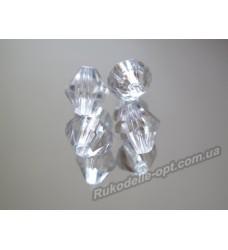 Бусины Хрусталик акриловые биконус 8 мм прозрачные