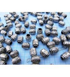 Бусины Пандора 6×8 мм серебряные с черным
