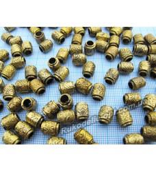 Бусины Пандора 6×8 мм золотые с черным