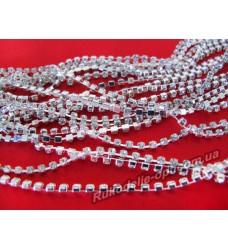 Стразовые цепи металлические цвет серебро SS 8 (10 ярдов)