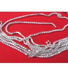 Стразовые цепи металлические цвет серебро SS 10 (10 ярдов)