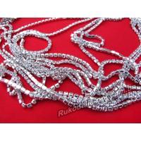 Стразовые цепи металлические цвет серебро SS 12 (10 ярдов)
