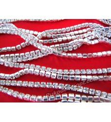 Стразовые цепи металлические цвет серебро SS 14 (10 ярдов)