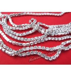 Стразовые цепи металлические цвет серебро SS 16 (10 ярдов)